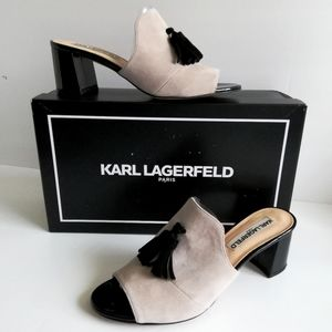 Karl Lagerfeld Hettie Suede Open Toe Slip On Mules